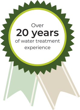Over 20 years of water treatment experience ribbon symbol